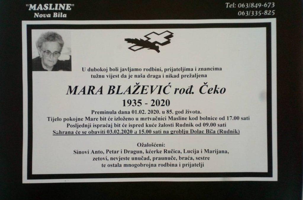 Mara Blažević, rođ. Čeko