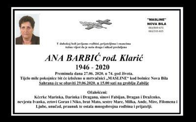 Ana Barbić rođ. Klarić