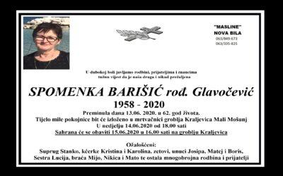Spomenka Barišić rođ. Glavočević