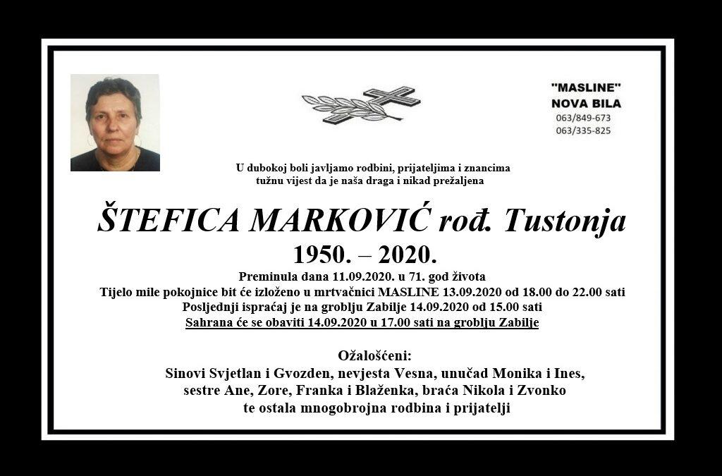 Štefica Marković rođ. Tustonja