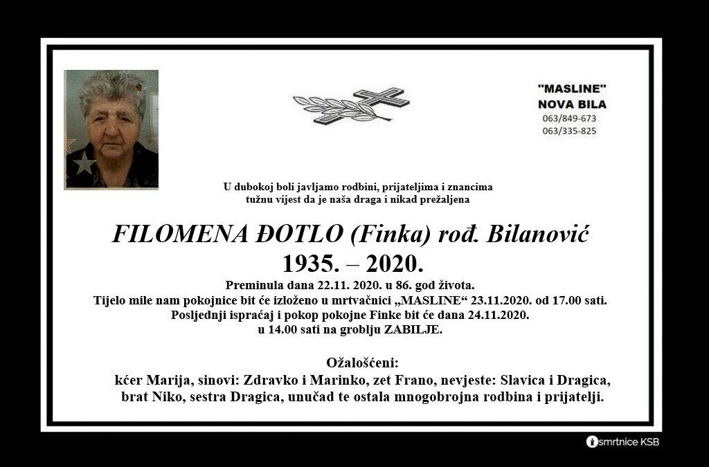 Filomena Đotlo (Finka) rođ. Bilanović