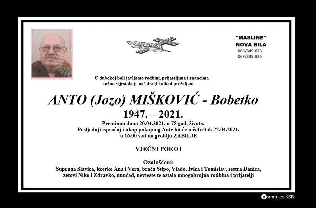 Anto (Jozo) Mišković – Bobetko